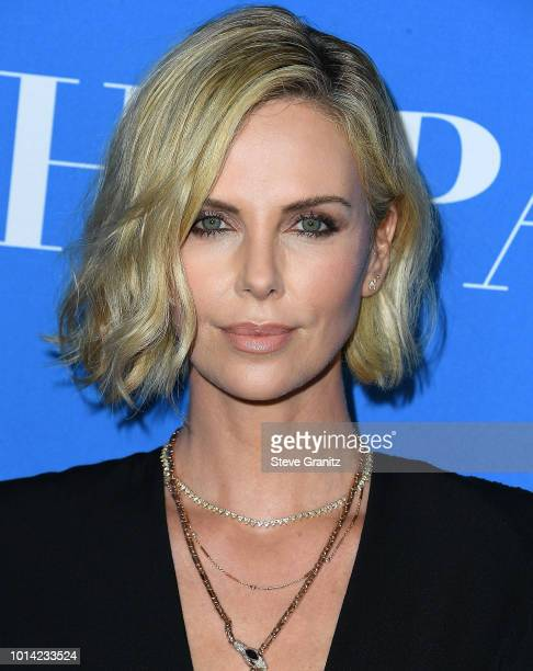 Charlize Theron arrives at the Hollywood Foreign Press Association's Grants Banquet at The Beverly Hilton Hotel on August 9 2018 in Beverly Hills...
