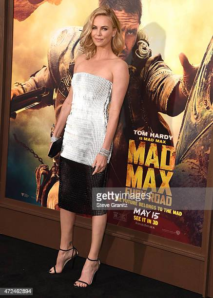 Charlize Theron arrives at the Mad Max Fury Road Los Angeles Premiere at TCL Chinese Theatre IMAX on May 7 2015 in Hollywood California