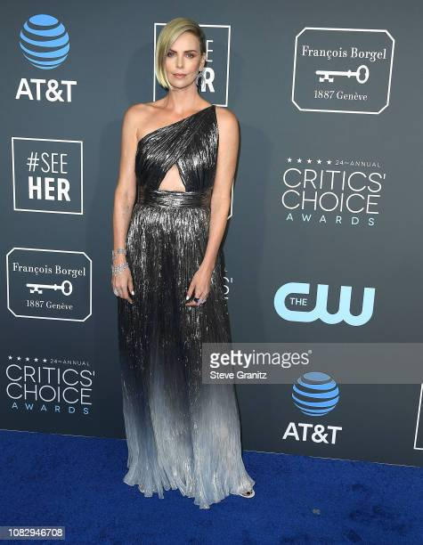 Charlize Theron arrives at the The 24th Annual Critics' Choice Awards attends The 24th Annual Critics' Choice Awards at Barker Hangar on January 13...