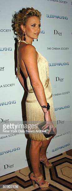 Charlize Theron at the Cinema Society's screening held at the Tribeca Grand Screening Room for the movie Sleepwalking