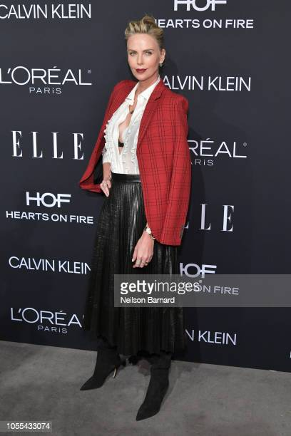 Charlize Theron attends ELLE's 25th Annual Women In Hollywood Celebration presented by L'Oreal Paris Hearts On Fire and CALVIN KLEIN at Four Seasons...