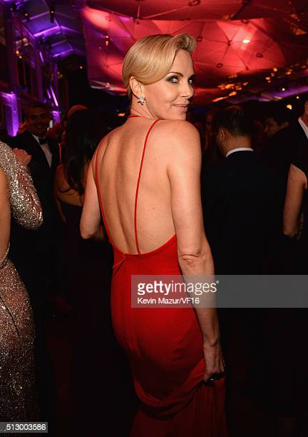 Charlize Theron attends the 2016 Vanity Fair Oscar Party Hosted By Graydon Carter at the Wallis Annenberg Center for the Performing Arts on February...