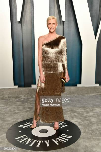 Charlize Theron attends the 2020 Vanity Fair Oscar Party hosted by Radhika Jones at Wallis Annenberg Center for the Performing Arts on February 09,...