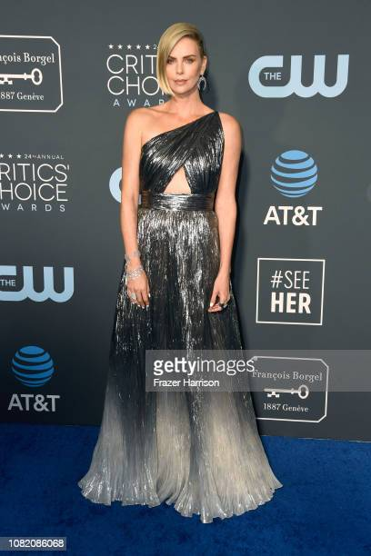 Charlize Theron attends the 24th annual Critics' Choice Awards at Barker Hangar on January 13, 2019 in Santa Monica, California.