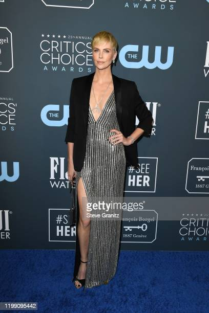 Charlize Theron attends the 25th Annual Critics' Choice Awards at Barker Hangar on January 12 2020 in Santa Monica California