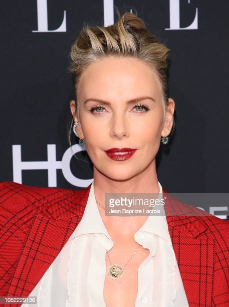 Charlize Theron attends the 25th Annual ELLE Women in Hollywood Celebration at Four Seasons Hotel Los Angeles at Beverly Hills on October 15 2018 in...