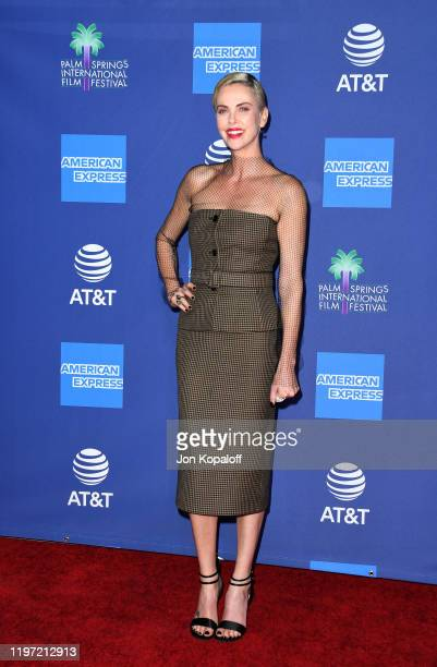 Charlize Theron attends the 31st Annual Palm Springs International Film Festival Film Awards Gala at Palm Springs Convention Center on January 02...