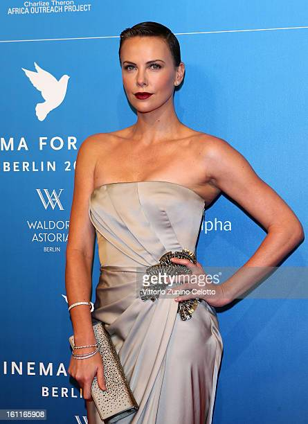 Charlize Theron attends the Cinema For Peace Gala 2013 during the 63rd Berlinale International Film Festival at the Waldorf Astoria Hotel on February...