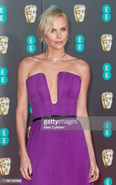 Charlize Theron attends the EE British Academy Film Awards 2020 at Royal Albert Hall on February 2, 2020 in London, England.