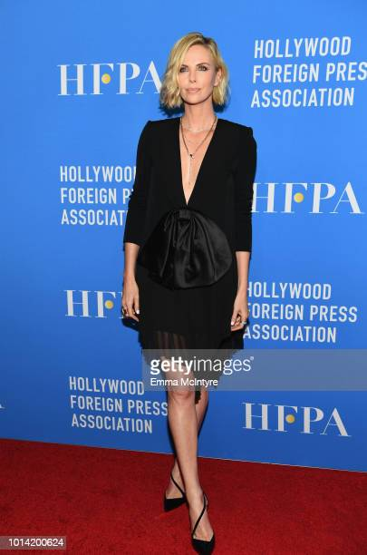 Charlize Theron attends the Hollywood Foreign Press Association's Grants Banquet at The Beverly Hilton Hotel on August 9 2018 in Beverly Hills...