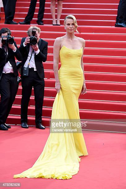 "Charlize Theron attends the ""Mad Max : Fury Road"" Premiere during the 68th annual Cannes Film Festival on May 14, 2015 in Cannes, France."
