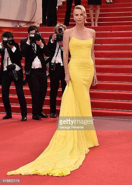 """Charlize Theron attends the """"Mad Max : Fury Road"""" Premiere during the 68th annual Cannes Film Festival on May 14, 2015 in Cannes, France."""