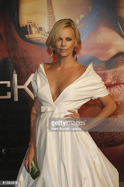 Charlize Theron attends the Paris Premiere of Hancock on June 16, 2008 at L'Olympia Hall in Paris, France.