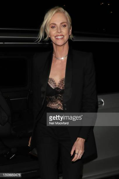 Charlize Theron attends the Vogue x Tiffany Fashion Film after party for the EE British Academy Film Awards 2020 at Annabel's on February 02 2020 in...