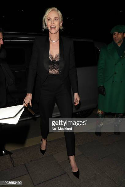 Charlize Theron attends the Vogue x Tiffany Fashion & Film after party for the EE British Academy Film Awards 2020 at Annabel's on February 02, 2020...