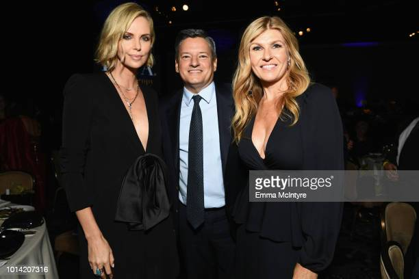 Charlize Theron CEO of Netflix Ted Sarandos and Connie Britton attend the Hollywood Foreign Press Association's Grants Banquet at The Beverly Hilton...