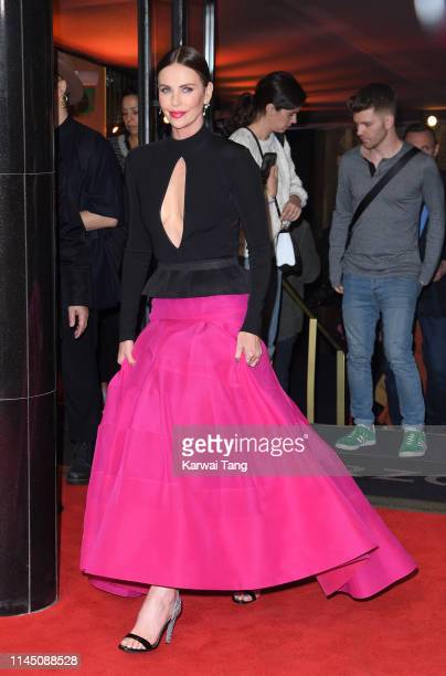 Charlize Theron departs after attending the Long Shot special screening at Curzon Cinema Mayfair on April 25 2019 in London England