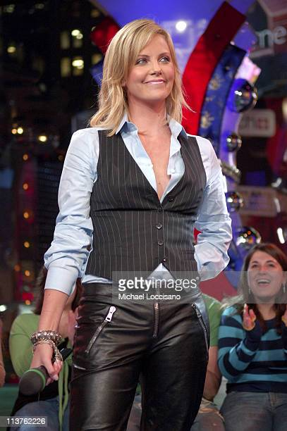Charlize Theron during Charlize Theron and Shakira Visit MTV's TRL November 29 2005 at MTV Studios in New York City New York United States