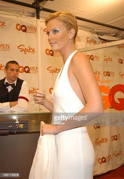 Charlize Theron during Spike TV Presents the 2003 GQ Men of the Year Awards Red Carpet at The Regent Wall Street in New York City New York United...