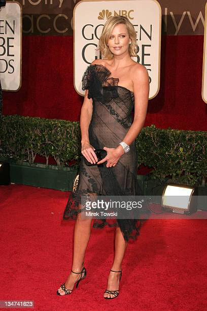 Charlize Theron during The 63rd Annual Golden Globe Awards Arrivals at Beverly Hilton Hotel in Beverly Hills California United States