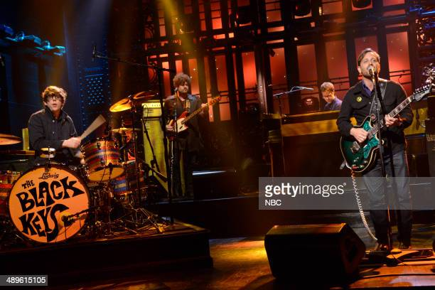 LIVE 'Charlize Theron' Episode 1661 Pictured Patrick Carney and Dan Auerbach of musical guest The Black Keys perform on May 10 2014