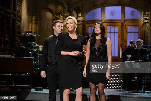LIVE 'Charlize Theron' Episode 1661 Pictured Taran Killam Charlize Theron Cecily Strong on May 10 2014