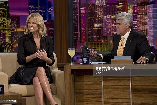 LENO Charlize Theron Episode 3624 Air Date Pictured Actress Charlize Theron during an interview with host Jay Leno on September 22 2008 Photo by Paul...