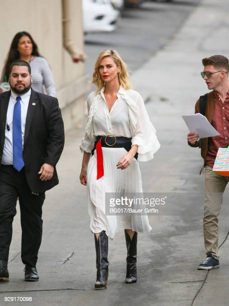 Charlize Theron is seen arriving at 'Jimmy Kimmel Live' on March 07 2018 in Los Angeles California