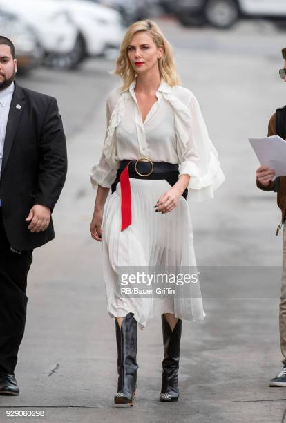Charlize Theron is seen at 'Jimmy Kimmel Live' on March 07 2018 in Los Angeles California