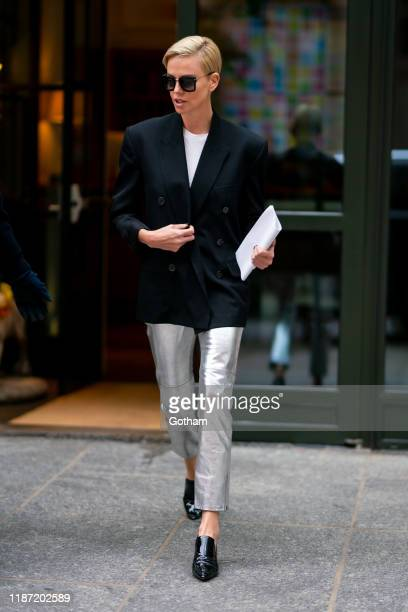 Charlize Theron is seen in SoHo on November 12, 2019 in New York City.