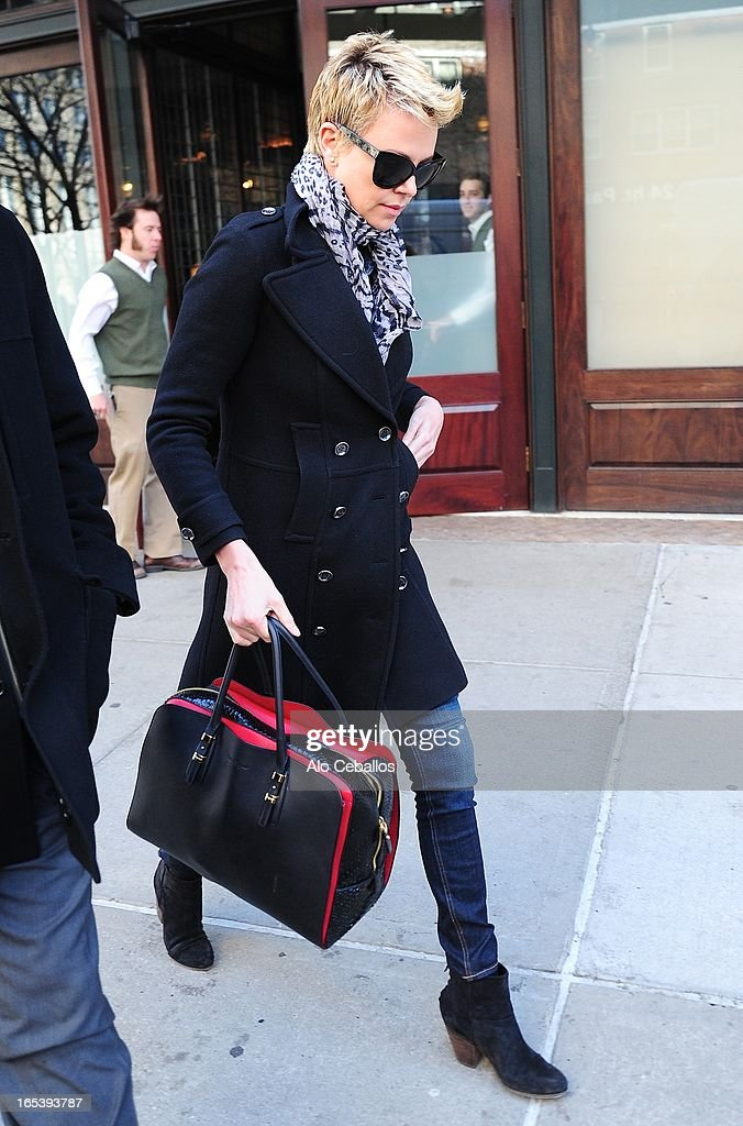 Charlize Theron is seen in Tribeca on April 3, 2013 in New York City.