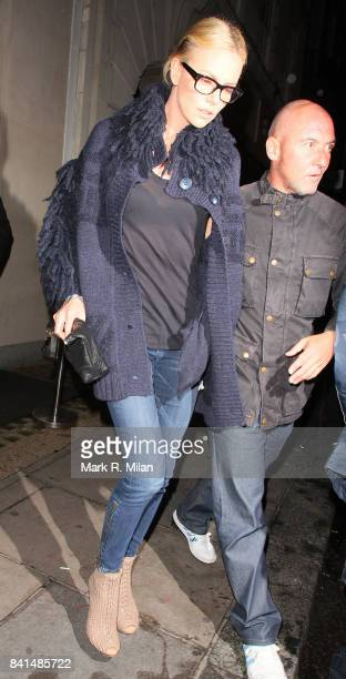 Charlize Theron is seen leaving Nobu restaurant in London