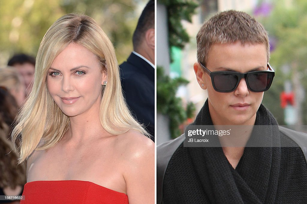 In this composite image a comparison has been made between the long and short hairstyles of Charlize Theron.(Left image) UNIVERSAL CITY, CA - JUNE 03: Actress Charlize Theron arrives at the 2012 MTV Movie Awards held at Gibson Amphitheatre on June 3, 2012 in Universal City, California. (Photo by Jason Merritt/Getty Images)(Right image) LOS ANGELES, CA - DECEMBER 23: Charlize Theron is seen on December 23, 2012 in Los Angeles, California.