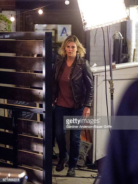 Charlize Theron is seen on the movie set of 'Tully' on November 08 2016 in New York City