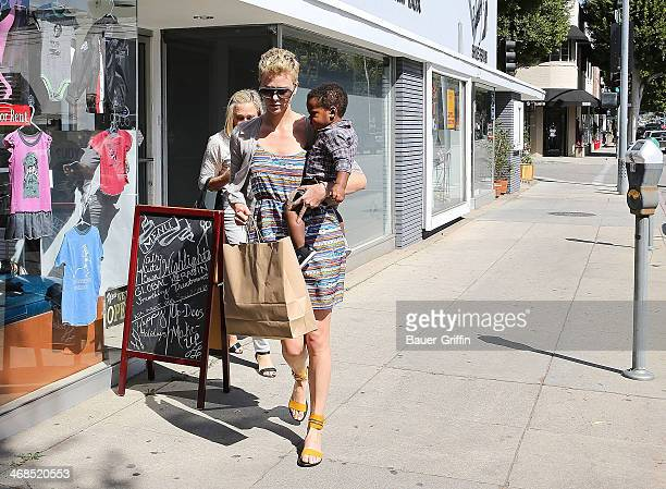 Charlize Theron is seen with her son Jackson Theron and mother Gerda Maritz on March 02 2013 in Los Angeles California