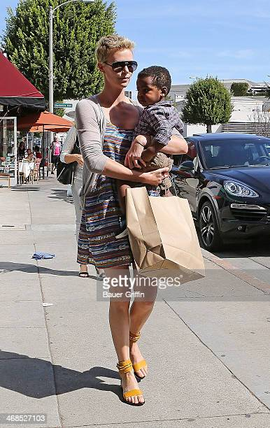 Charlize Theron is seen with her son Jackson Theron on March 02 2013 in Los Angeles California