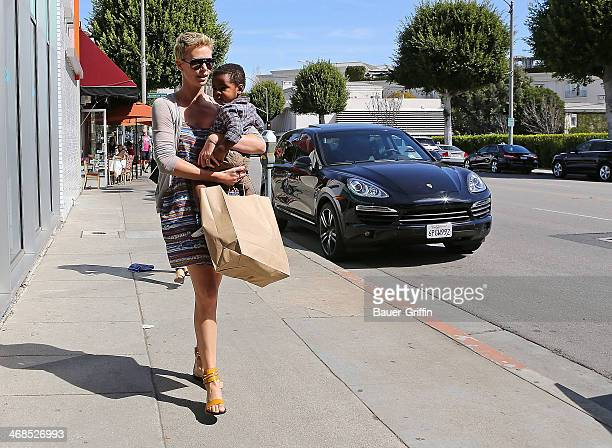 Charlize Theron is seen with her son Jackson Theron on March 03 2013 in Los Angeles California