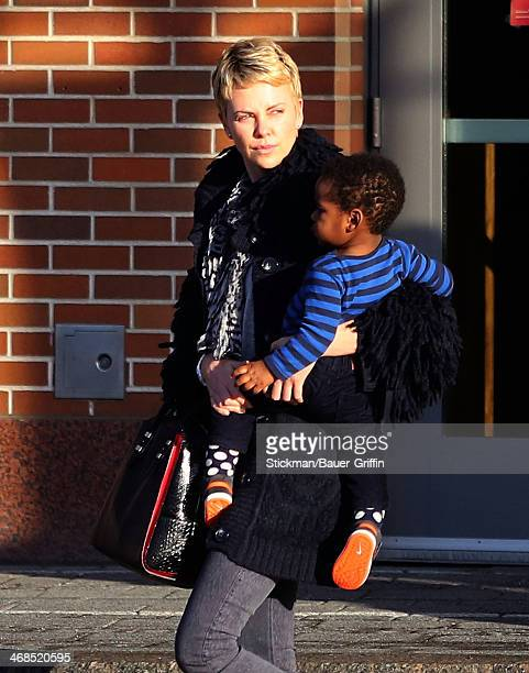 Charlize Theron is seen with her son Jackson Theron on March 24 2013 in Boston Massachusetts