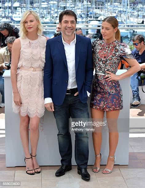 Charlize Theron Javier Bardem and Adele Exarchopoulos attend 'The Last Face' Photocall during the 69th annual Cannes Film Festival at the Palais des...
