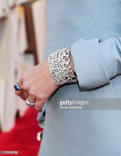 Charlize Theron jewelry detail attends the 91st Annual Academy Awards at Hollywood and Highland on February 24 2019 in Hollywood California