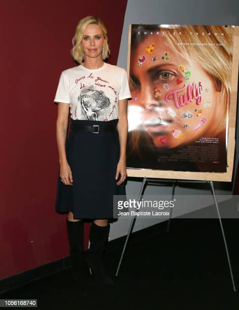 """Charlize Theron poses during the double feature of """"Tully"""" and """"Monster"""" on November 01, 2018 in Los Angeles, California."""