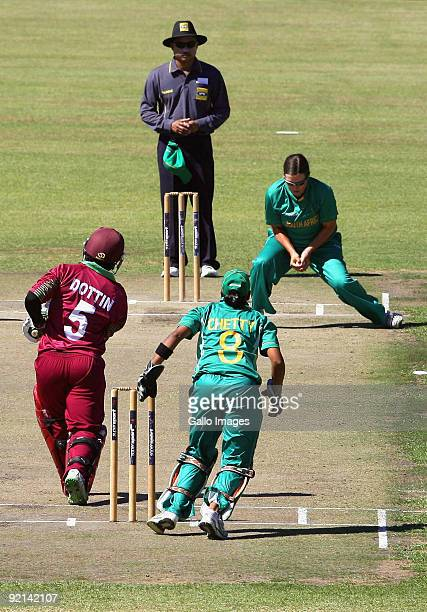 Charlize van der Westhuizen from South Africa takes a catch to dismiss Deandra Dottin from West Indies during the third one day international Women's...
