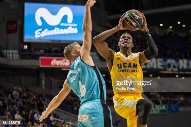 Charlon Kloof and Ludde Hakanson during UCAM Murcia victory over Movistar Estudiantes in Liga Endesa regular season game celebrated in Madrid at...