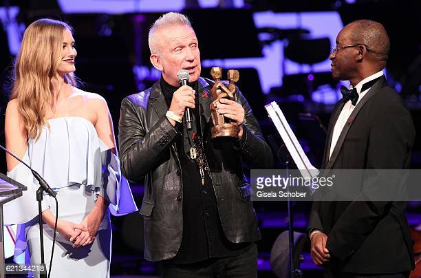 Charlott Cordes Fashion Designer Jean Paul Gaultier with 'World without AIDS' Award and Strive Masiyiwa during the 23rd Opera Gala at Deutsche Oper...