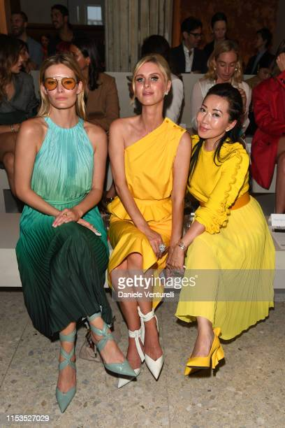 Charlott Cordes Tina Craig and Nicky Hilton wearing Max Mara attend the Max Mara Resort 2020 Fashion Show at Neues Museum on June 03 2019 in Berlin...