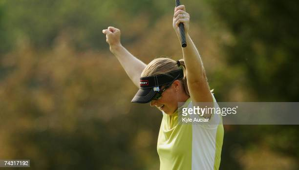 Charlotta Sorenstam of Sweden reacts after making birdie on the eighth hole during the first round of the Corning Classic at the Corning Country Club...