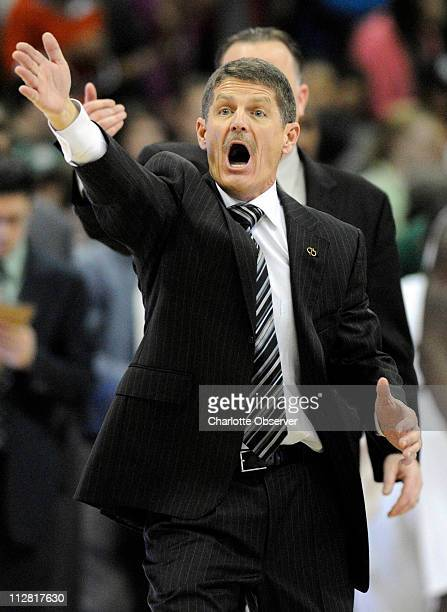 Charlotte 49ers coach Bobby Lutz disputes a call while playing against the George Washington Colonials during the first half of their A10 game in...