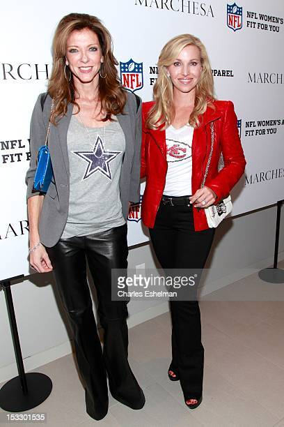 Charlotte Anderson and Tavia Hunt attend the Limited Edition Marchesa/NFL Collaboration Launch at National Football League on October 2 2012 in New...