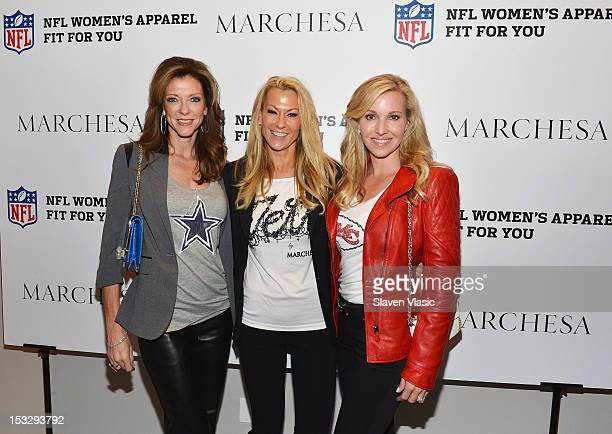 Charlotte Anderson Suzanne Johnson and Tavia Hunt attend the Limited Edition Marchesa/NFL Collaboration Launch at National Football League on October...