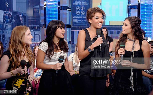 Charlotte ArnoldCassie SteeleSarah BarrableTishauer and Nina Dobrev of Degrassi visit MTV's TRL at the MTV studios in Times Square on October 14 2008...